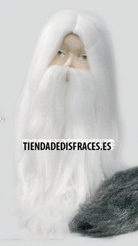 Peluca y Barba Mago Blanco/Gris