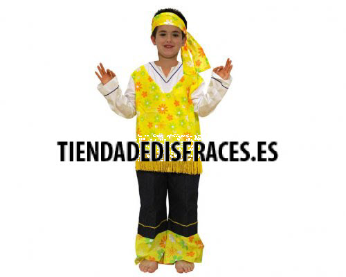 Disfraz de Hippie Amarillo 10-12 años