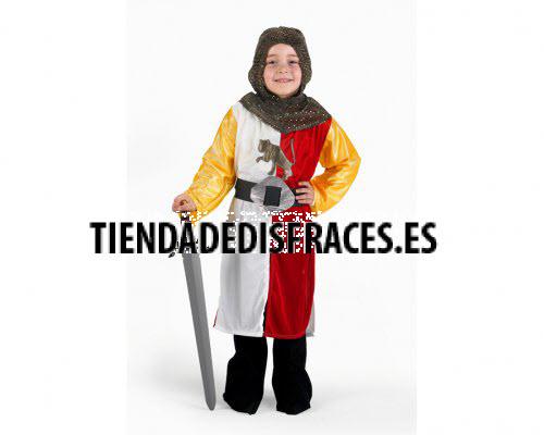 Disfraz de Caballero Cruzadas Rojo 3-4 años económico