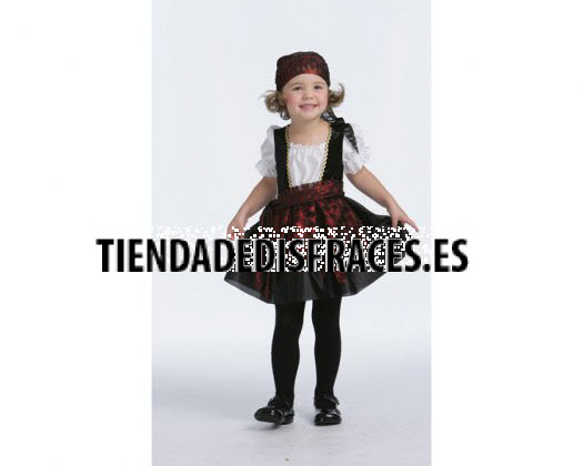 Disfraz de capitan pirata niña, Talla 1 (3 – 4 años)