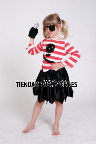 Disfraz de Pirata Garfio niña infantil 1 a 3 años, talla 0
