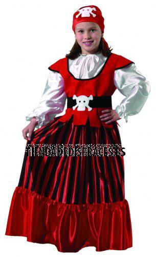 Disfraz de Pirata niña infantil talla 3 a 5 años, talla 1