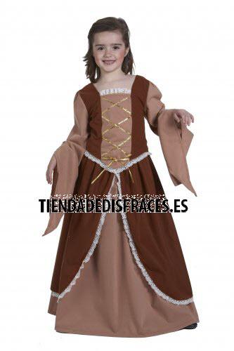 Disfraz de Dama Medieval infantil talla 3 a 5 años, talla 1