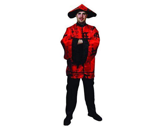 Disfraz de chino adulto rojo Talla 2 (M-L)