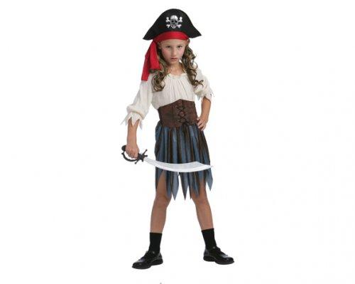 Disfraz de Pirata del Caribe niña 7-9 años económico