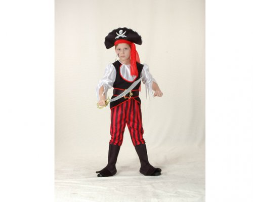 Disfraz de niño Pirata rojo-negro 4-6 años económico