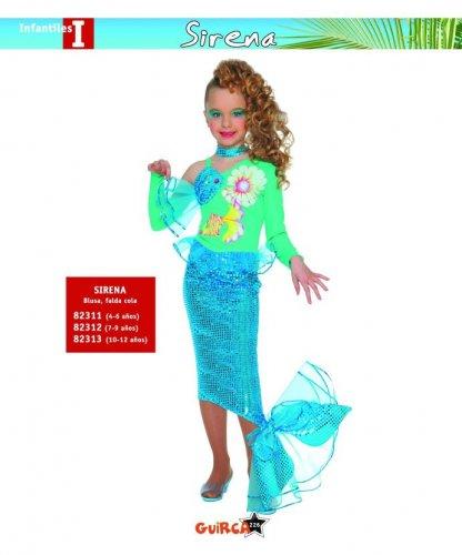 Disfraz de Sirena 4-6 Años