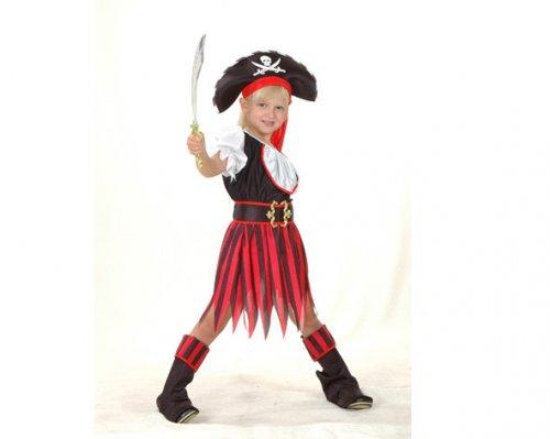 Disfraz de Pirata rojo-negro Niña 4-6 Años Económico
