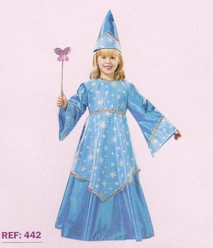 Disfraz de Hada Medieval Azul Infantil Económico, talla 5-7 años