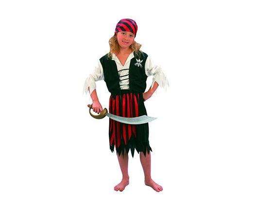 Disfraz de niña pirata rojo y negro 5-6 años
