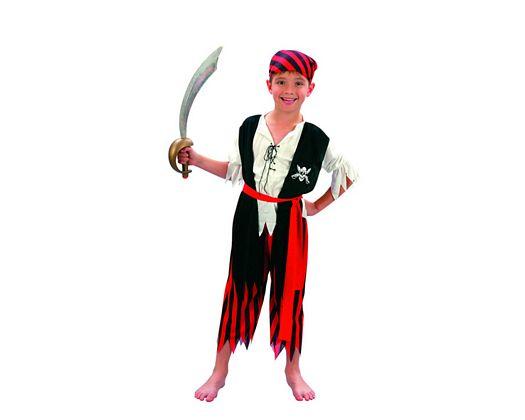Disfraz de niño pirata rojo y negro 5-6 años