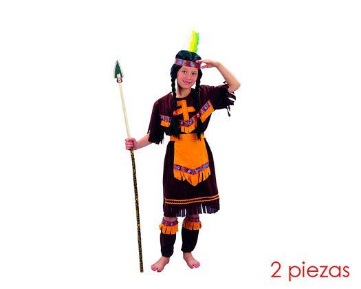 Disfraz de niña india marron 7-9 años
