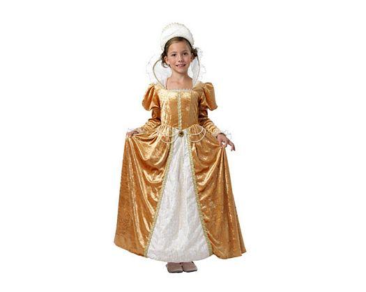 Disfraz de reina renacimiento beige Talla 3 (7 – 9 años)