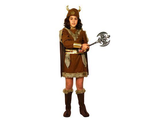 Disfraz de vikinga marron pelo 7-9 años
