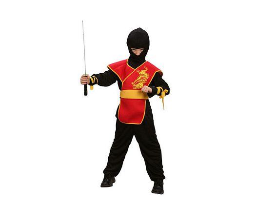 Disfraz de ninja rojo peto niños 7-9 años