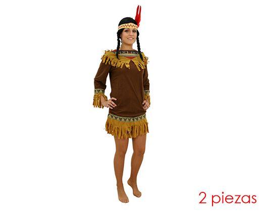 Disfraz de mujer india marron Talla 2 (M-L)