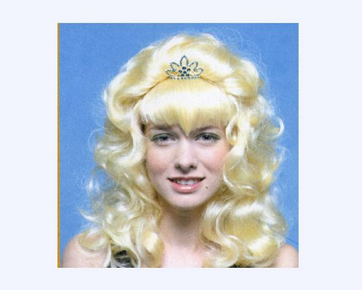 Pvc peluca princesa larga rubia tiara