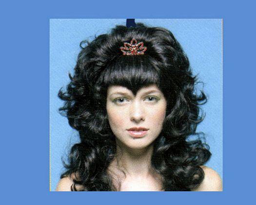 Pvc peluca princesa larga negra tiara