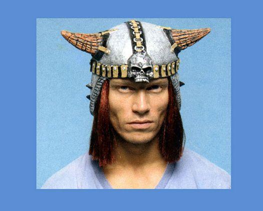 Peluca casco vikingo castaña