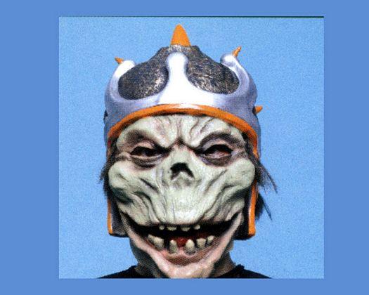 Peluca corta casco y mascara monstruo