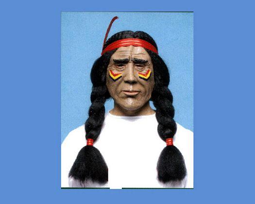 Peluca indio trenzas y careta pintada