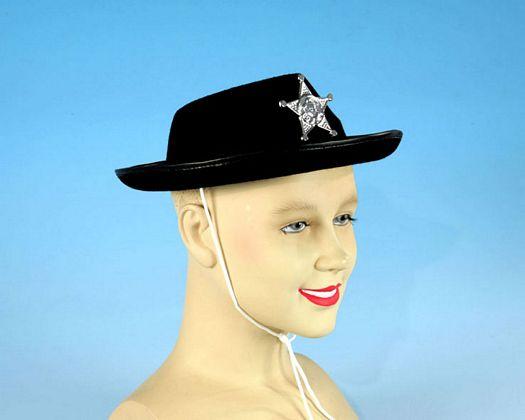 Sombrero negro sheriff estrella niños