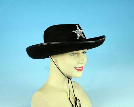 Sombrero negro sheriff con estrella