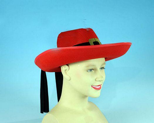 Sombrero mosquetero rojo Talla 2 (M-L)