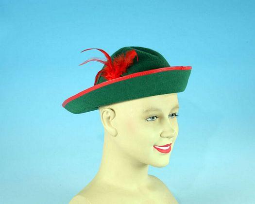 Sombrero tiroles verde pluma roja