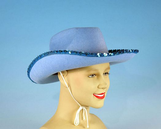 Sombrero vaquero azul lentejuelas