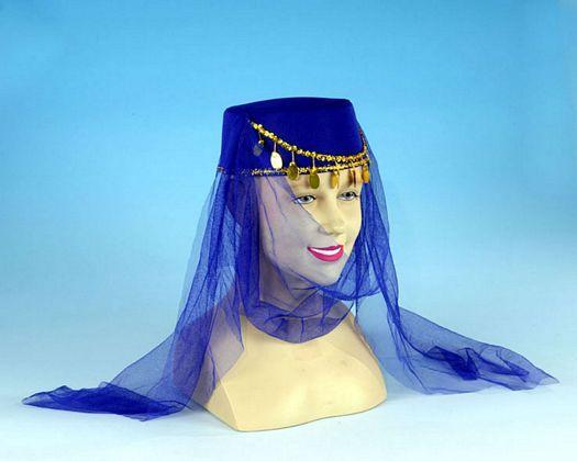 Sombrero arabe monedas y velo azul 5581cf1aa10