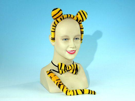Accesorio carnaval diadema, cola y lazo tigre