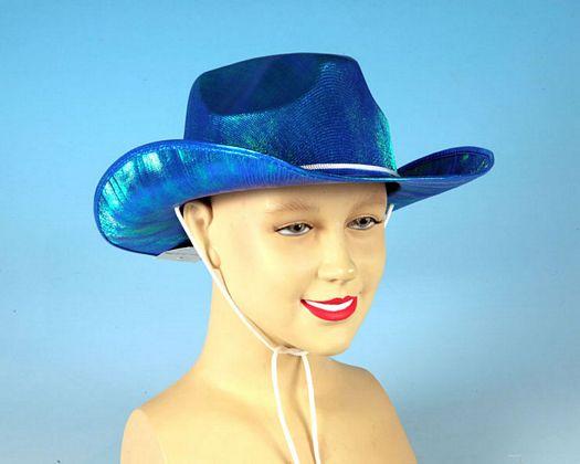 Sombrero cowboy azul tornasolado adulto
