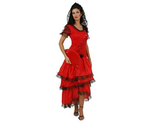 Disfraz de manola en rojo adulto