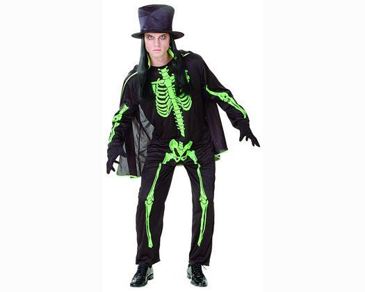 Disfraz de esqueleto verde adulto