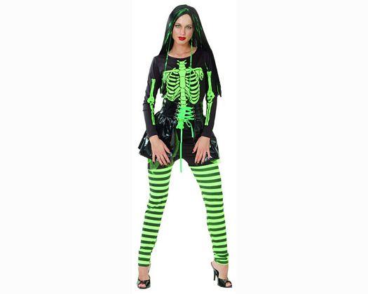 Disfraz de esqueleto verde mujer adulto