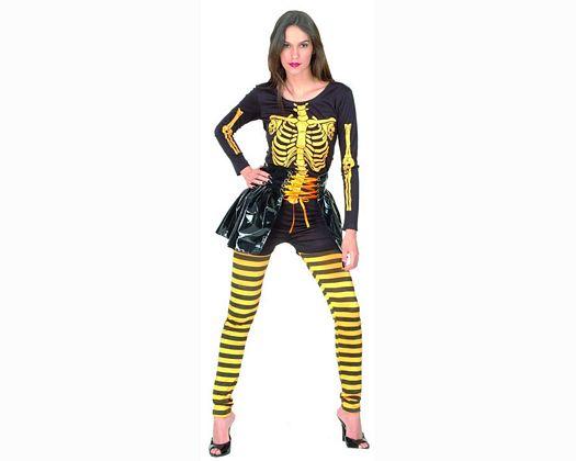 Disfraz de esqueleto naranja mujer Talla 2 (M-L)