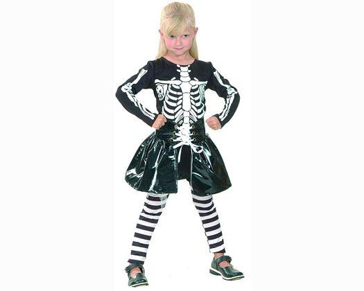 Disfraz de niña esqueleto blanco 7-9 años