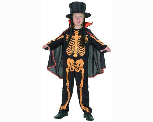 Disfraz de niÑo esqueleto naranj 10-12aÑos