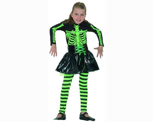 Disfraz de niÑa esqueleto verde 7-9 aÑos