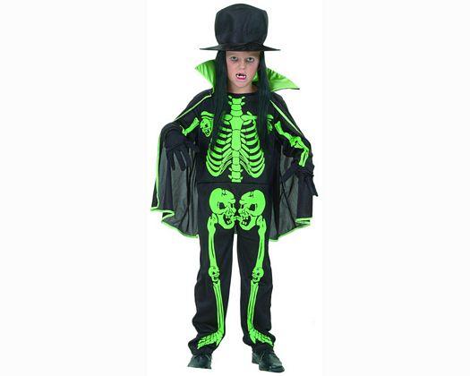 Disfraz de niÑo esqueleto verde 4-6aÑos