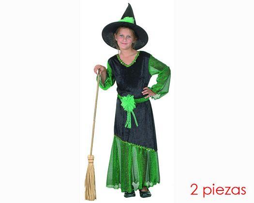 Disfraz de brujilla verde Talla 2 (5 – 6 años) añoniña