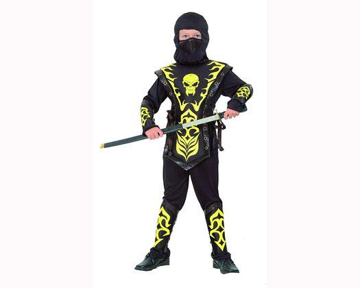 Disfraz de ninja con calavera amarilla 7-9 años