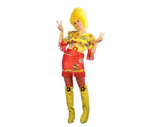Disfraz de hippie con falda adulto