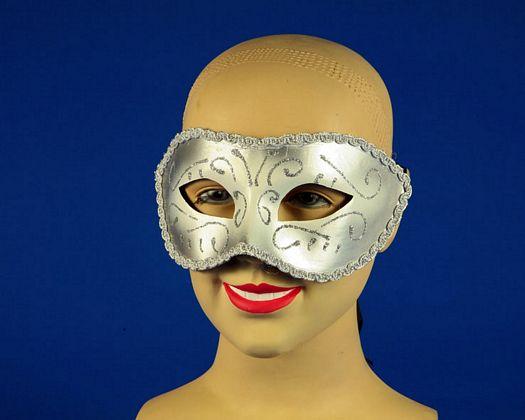 Mascara carnaval rosa y dorada