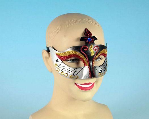 Mascara carnaval color negro gris purpur
