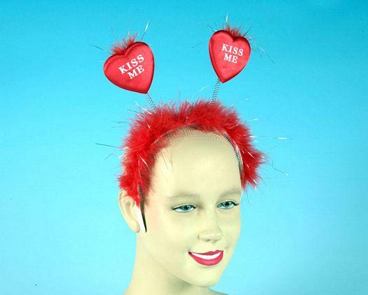Diadema roja kiss me plumas