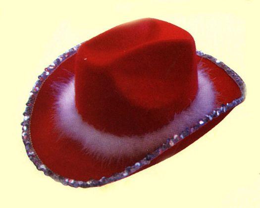 Sombrero cowboy lentejuelaplumas rojo