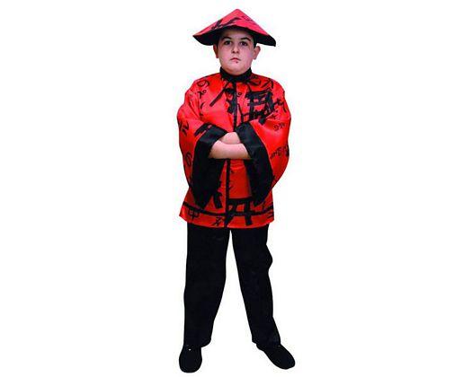 Disfraz de chino niños rojo Talla 4 (10 – 12 años)