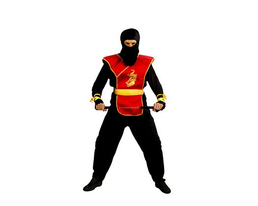 Disfraz de ninja negro y rojo adulto